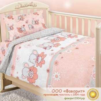 Детское постельное белье в кроватку «Слоники»