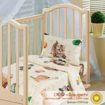 Детское постельное белье в кроватку «Усатый полосатый»