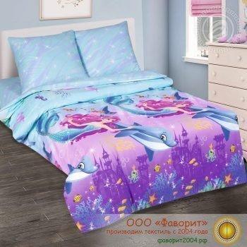 Детское постельное белье «Дельфин и русалка»