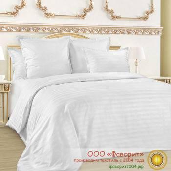 Постельное белье «Полоса 1×1» из страйп-сатина белого