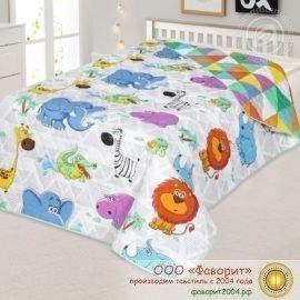 Покрывало-одеяло стеганое «Веселый зоопарк» поплин с синтепоном